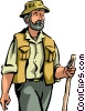 Hiker with walking stick Vector Clipart graphic