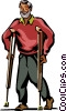 Older man on crutches Vector Clip Art image