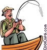 Fisherman catching fish Vector Clip Art graphic