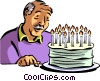 old man blowing out his candles Vector Clipart graphic