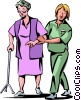 Vector Clipart image  of a Nurses with Patients