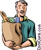 Man with groceries Vector Clipart graphic
