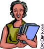 Senior Citizen with books Vector Clipart picture