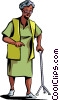 Senior Citizen walking with her cane Vector Clipart graphic
