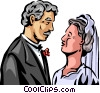 Vector Clipart illustration  of a Bride and Groom