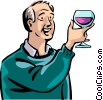 Senior Citizen with glass of wine Vector Clip Art image