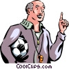 Soccer coach with ball and whistle Vector Clip Art image