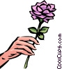 Hand with rose Vector Clip Art image