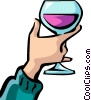 Hand with glass of wine Vector Clipart graphic