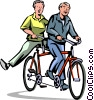 Cyclists on tandem bike Vector Clipart graphic