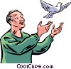 Senior Citizen letting a dove free Vector Clipart image