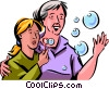 Vector Clip Art graphic  of a Blowing Bubbles