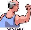 Vector Clipart picture  of a Bodybuilding and Weight