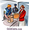 Airport security checking passengers luggage Vector Clipart graphic