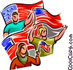 Vector Clip Art image  of a people waving American flags
