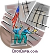 support workers at the WTC and raising the flag Vector Clip Art picture