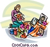 Vector Clip Art image  of a woman leaving flowers for the lost souls