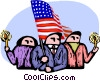 Vector Clipart graphic  of a people hold a candle light