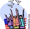 Independence Day people releasing doves Vector Clip Art picture