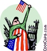Survivor of terror attacks waving American flag Vector Clip Art graphic