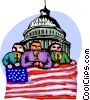 people hold a candle light vigil for 9/11 Vector Clipart graphic