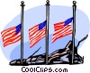 American flags flying at half mast Vector Clip Art picture