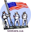 Vector Clip Art graphic  of a sailors heading out to sea