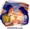 Vector Clip Art picture  of a people hold a candle light