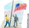 Fire fighters raising  American flag at ground zero Vector Clip Art graphic