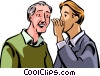 Senior Citizen getting secret from son Vector Clip Art picture