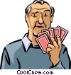 Man Playing Cards Vector Clip Art picture