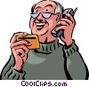 Senior Citizen with credit card on the phone Vector Clipart picture