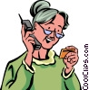 Senior Citizen with credit card on the phone Vector Clip Art graphic
