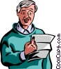 Senior Citizen reading a letter Vector Clipart illustration
