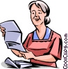 Senior Citizen reading a letter Vector Clipart picture