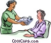 Nurses with Patients Vector Clip Art graphic