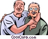 Senior Citizens hugging Vector Clipart graphic