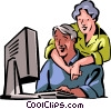 Couple working with their computer Vector Clipart illustration