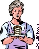 Senior Citizen with piece of cake Vector Clip Art graphic