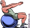 Older man doing aerobics Vector Clipart illustration
