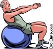 Older man doing aerobics Vector Clip Art image