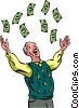 Senior Citizen throwing around cash Vector Clipart picture