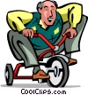 Senior Citizen riding a tricycle Vector Clip Art picture