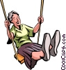 Senior Citizen on a swing Vector Clipart illustration