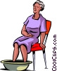 Senior Citizen soaking her sore feet Vector Clipart picture