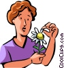woman plucking pedals off of a flower Vector Clip Art picture