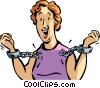 Vector Clip Art graphic  of a woman breaking free from