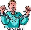 man breaking free from handcuffs Vector Clipart picture