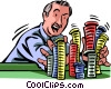 Man pushing in all his chips Vector Clip Art picture