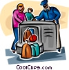 Airport security checking woman's luggage Vector Clip Art picture